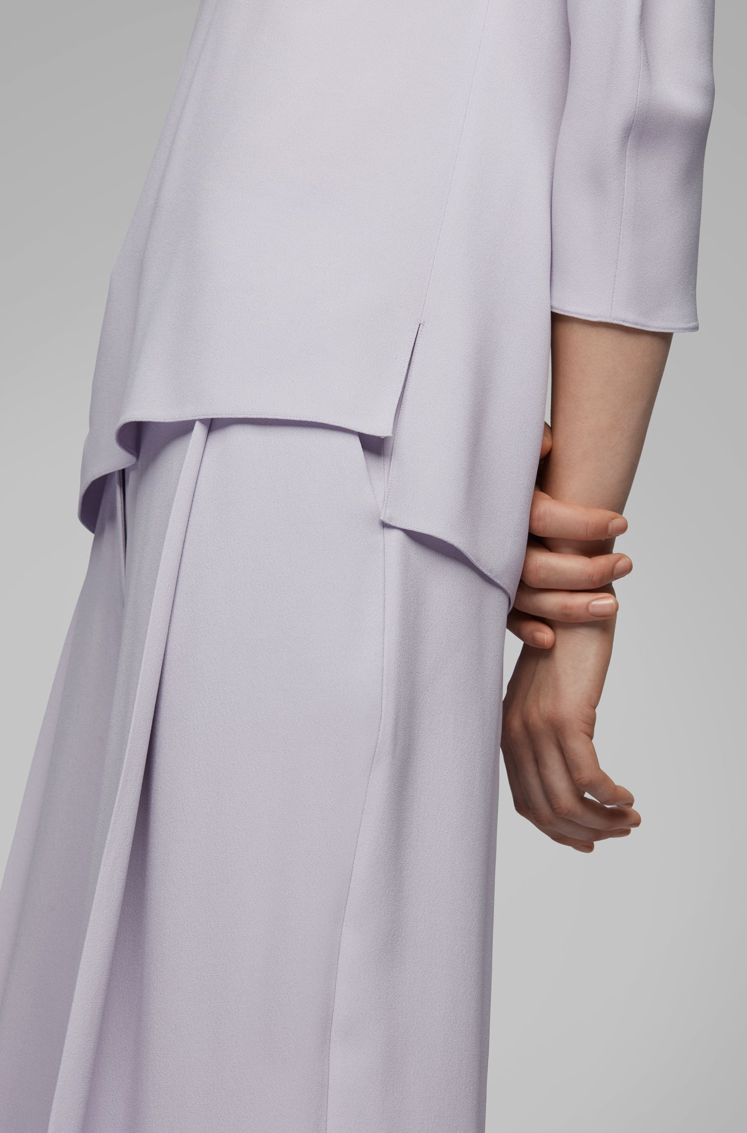 Bow-detail blouse in Italian satinback crepe, Light Purple