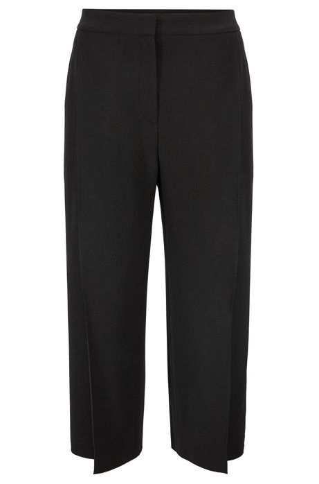Wide-leg cropped pants in Italian satinback crepe, Black