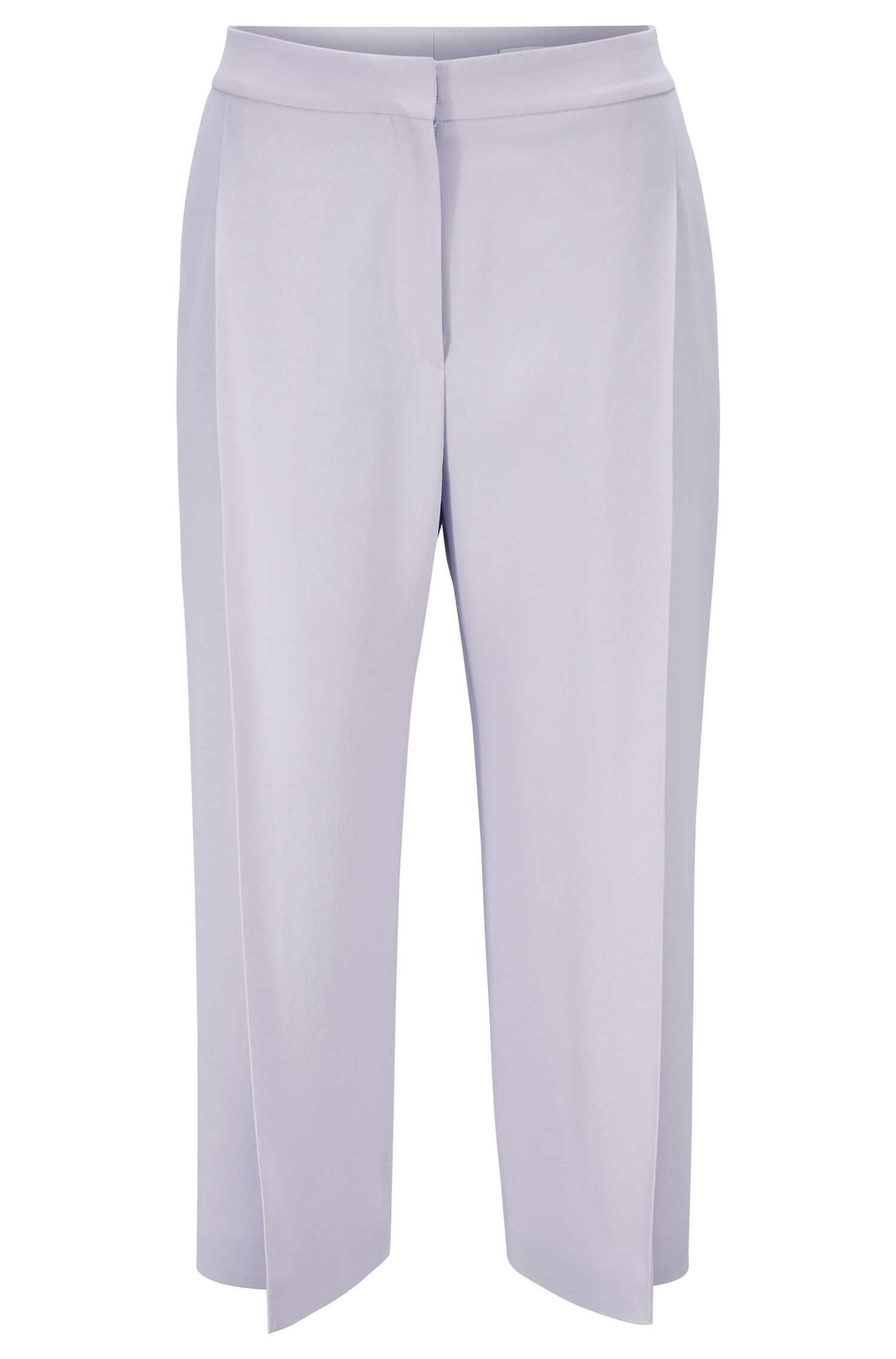 Wide-leg cropped pants in Italian satinback crepe, Light Purple