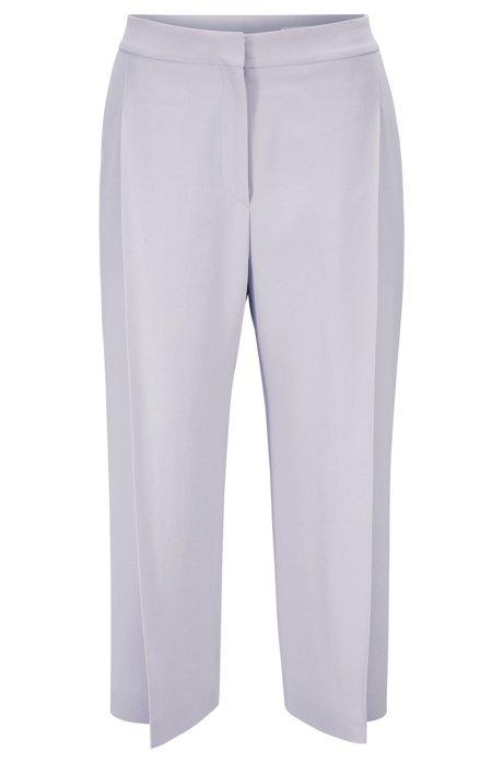 Wide-leg cropped pants in Italian satinback crepe, Light Purple