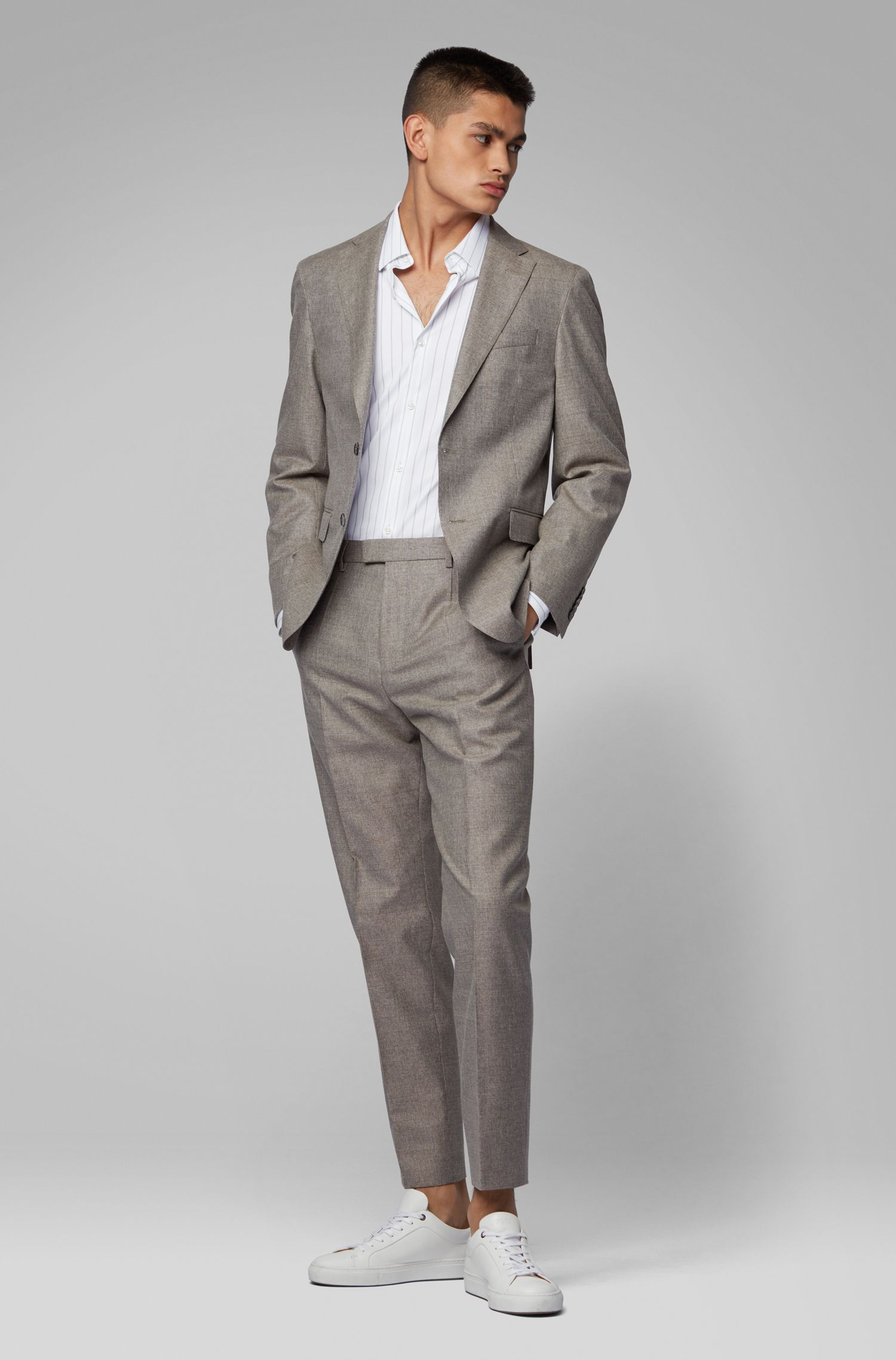 Striped slim-fit shirt in Italian stretch piqué, White