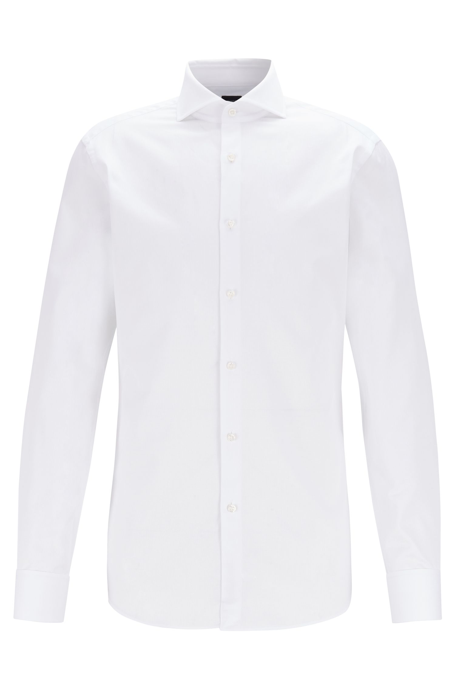 Slim-fit shirt in piqué cotton with double cuffs, White