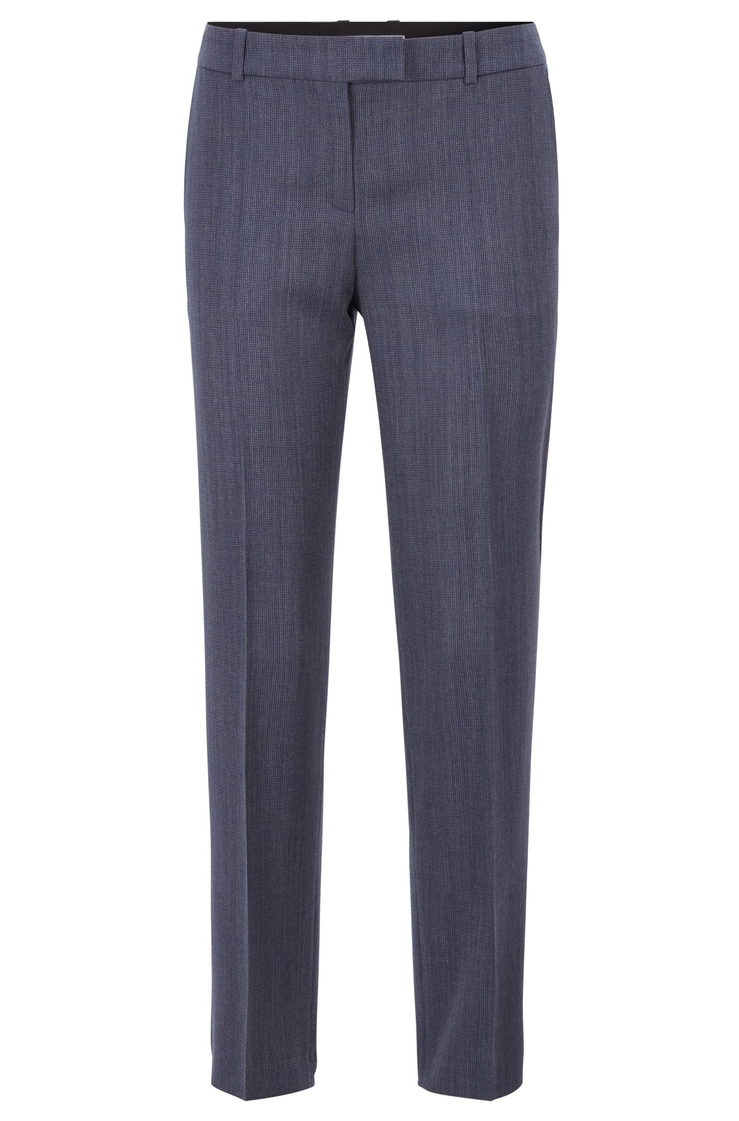 Relaxed-fit pants in micro-patterned Italian virgin wool, Patterned