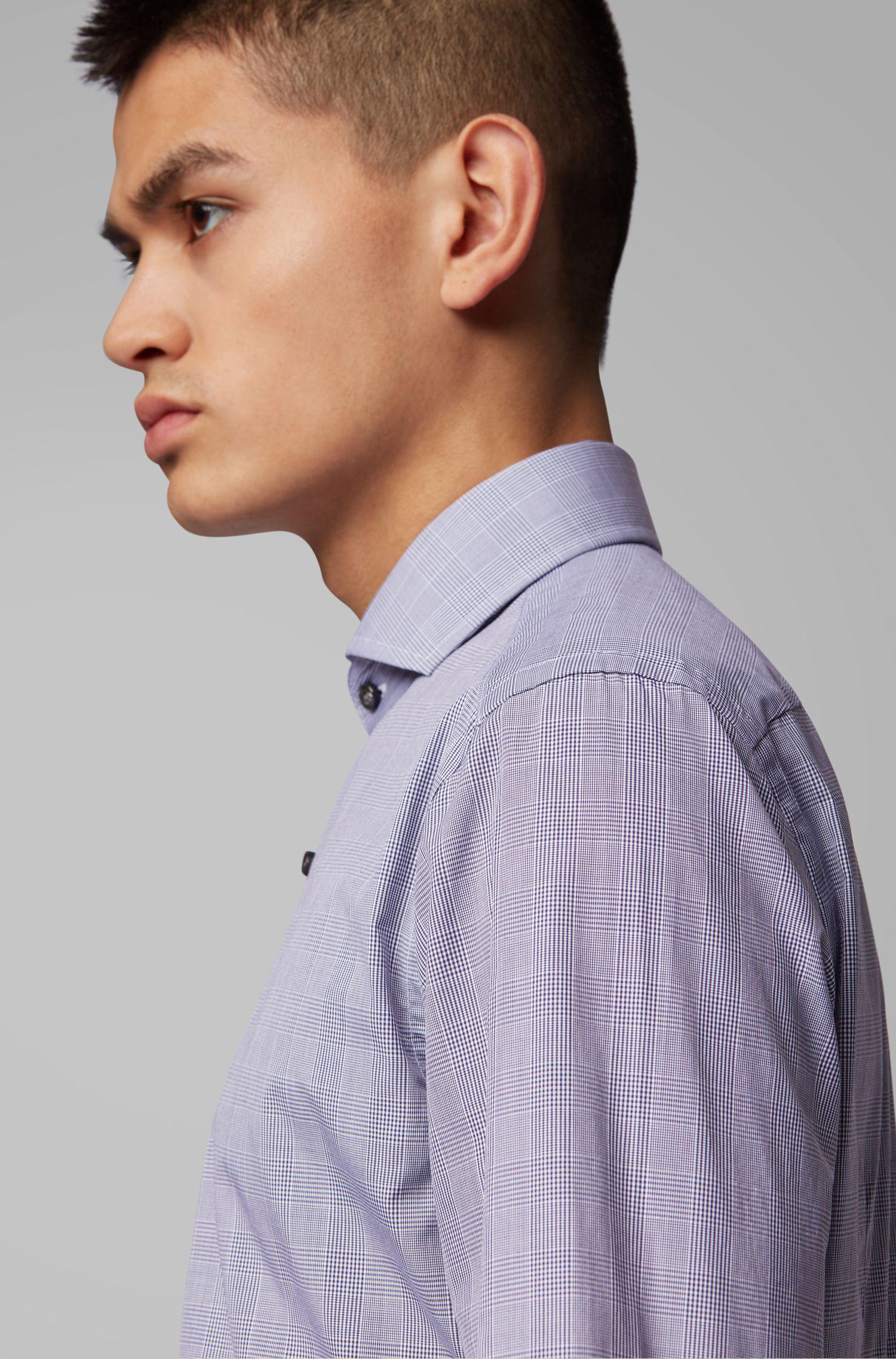 Slim-fit shirt in Glen-check cotton with spread collar, Dark Blue