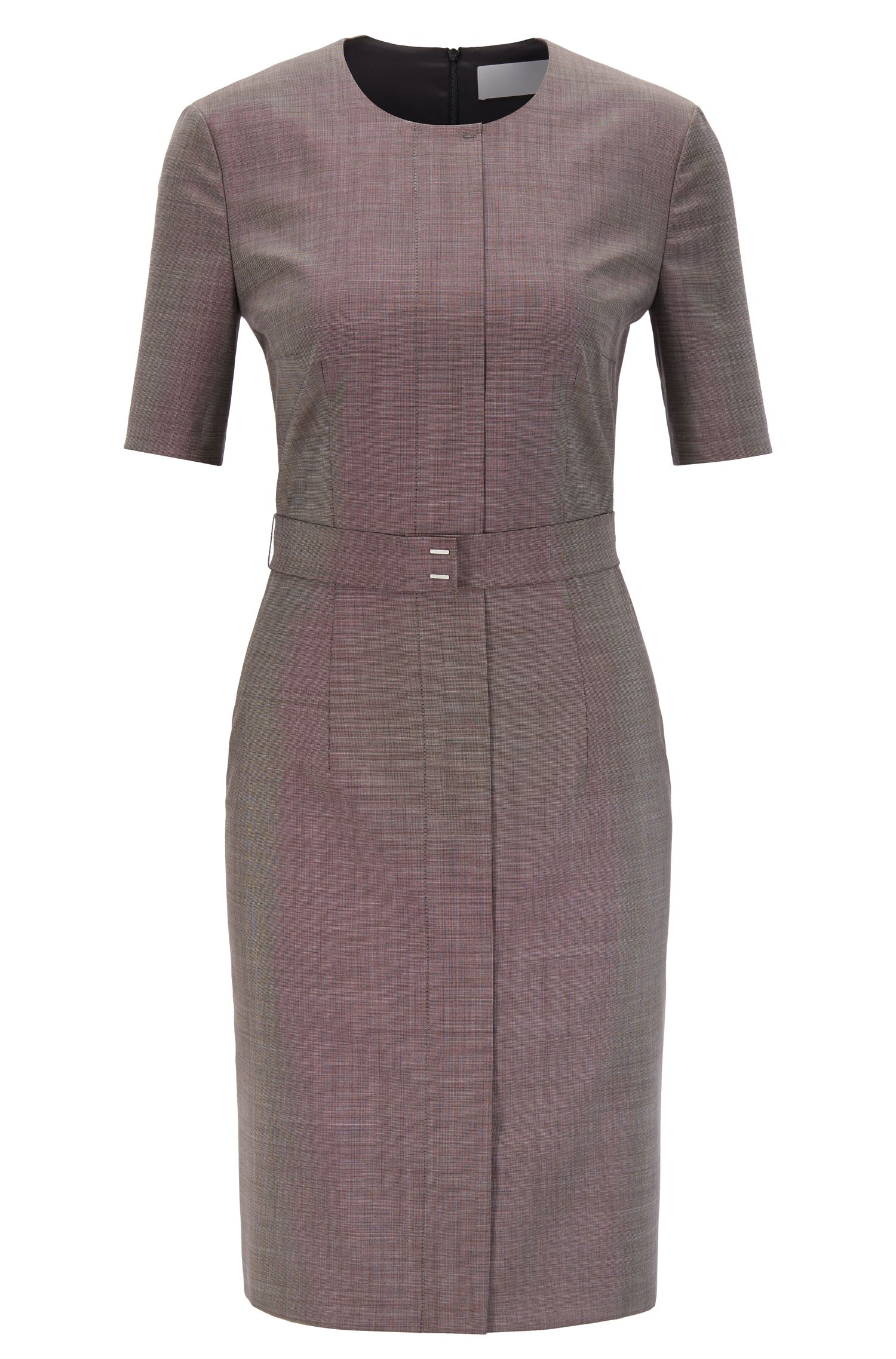 Shift dress in Italian virgin wool with belt detail, Patterned