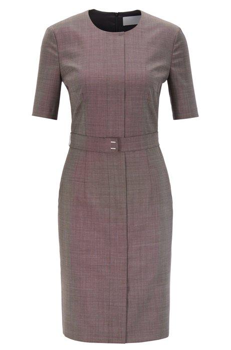 Shift dress in Italian virgin wool with belt detail, Patterned