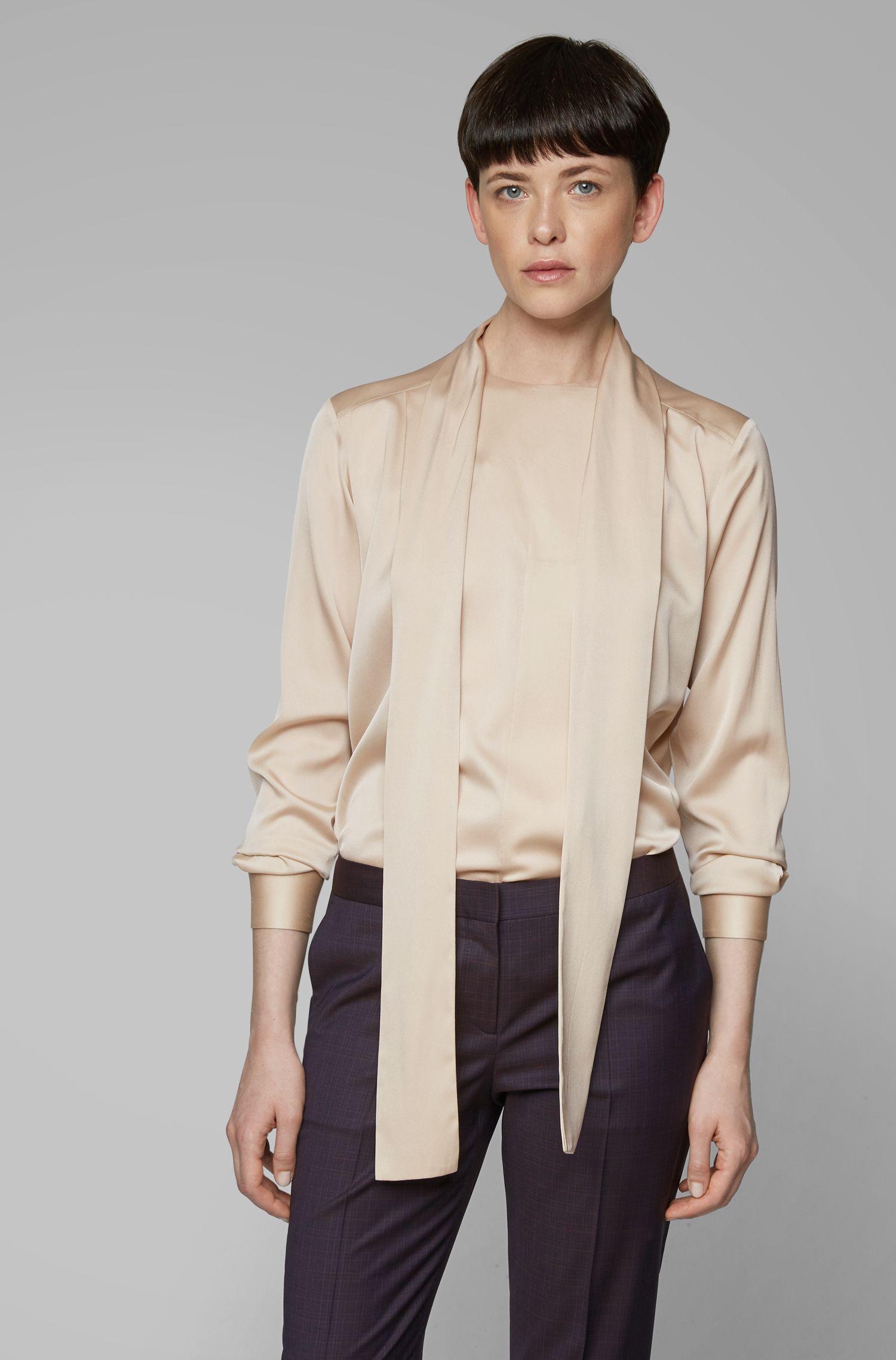 Tie-neck blouse in stretch silk, Light Beige