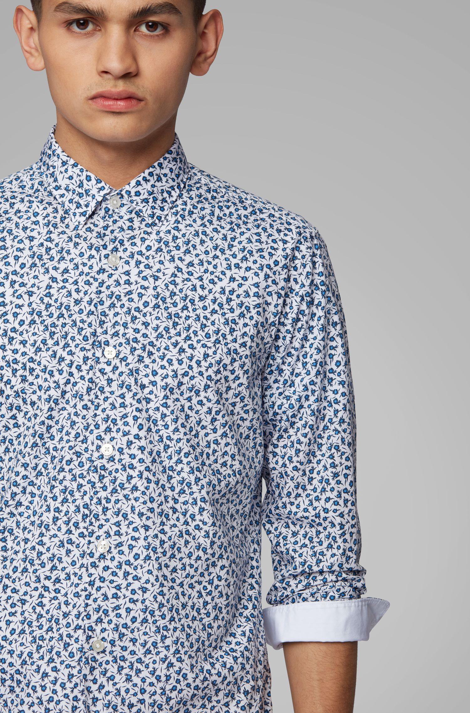 Slim-fit shirt with Thomas Mason floral print, Dark Blue