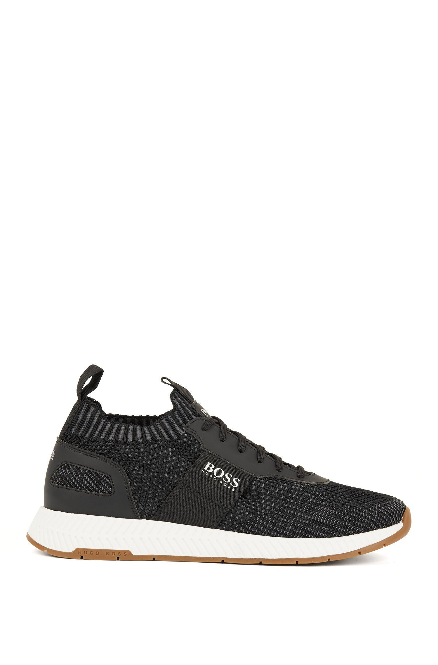 Running-inspired sneakers with laces and knitted uppers, Black