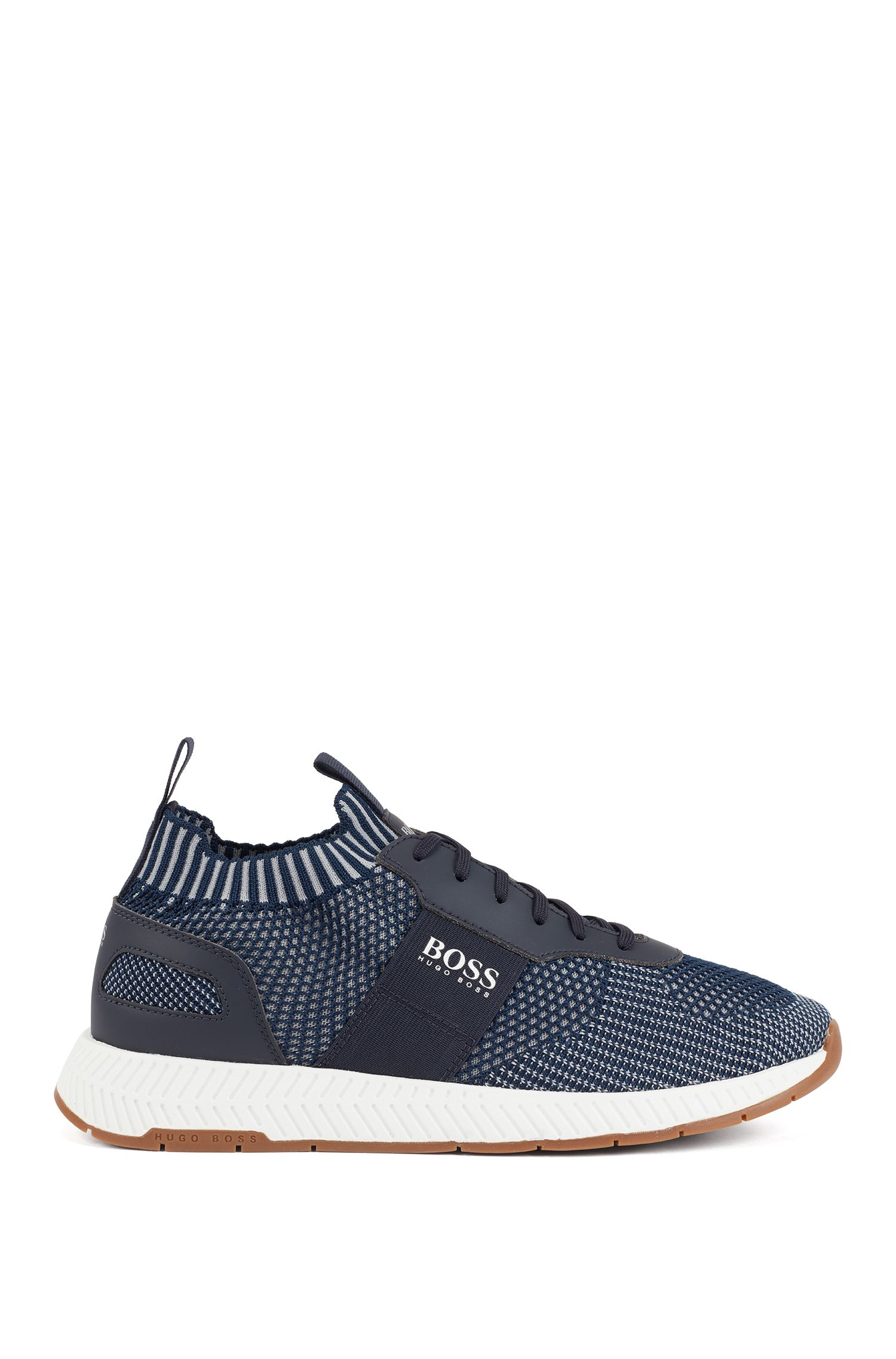 Running-inspired sneakers with laces and knitted uppers, Dark Blue
