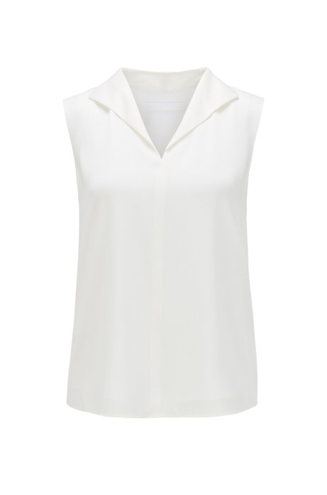 Sleeveless top in stretch-silk crepe de Chine, Natural