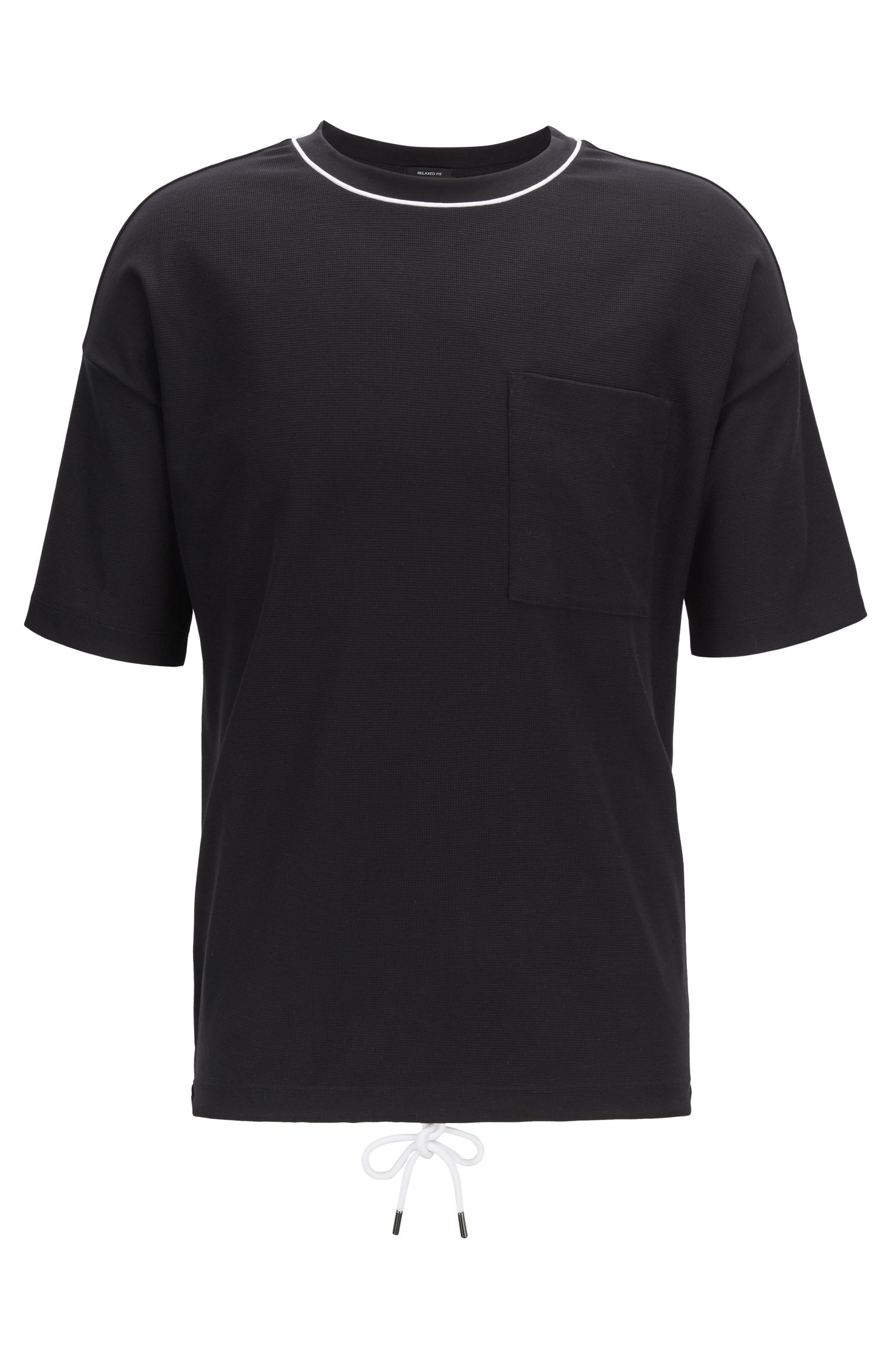 Relaxed-fit T-shirt in waffle cotton with drawstring hem, Black