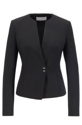 Slim-fit jacket in Portuguese fabric with hardware closure, Black