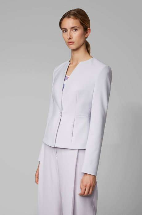 Slim-fit jacket in Portuguese fabric with hardware closure, Light Purple