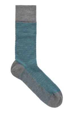 Micro-patterned regular-length socks in mercerized stretch cotton, Grey