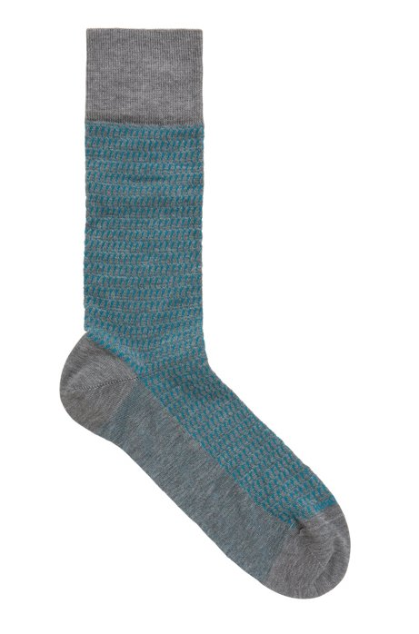 Micro-patterned regular-length socks in mercerized stretch cotton, Grey