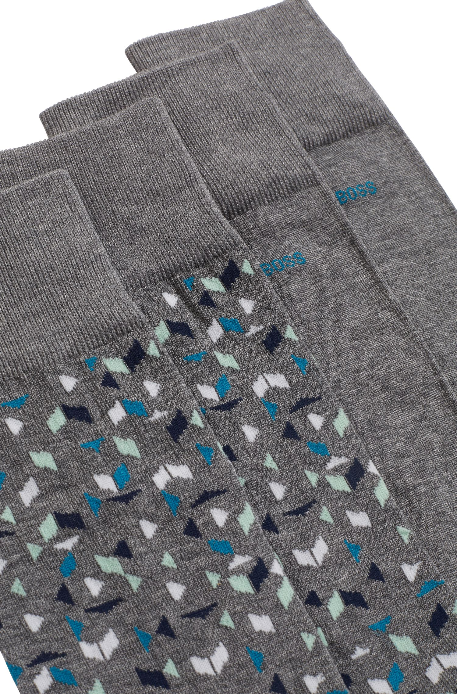 Two-pack of socks in a mercerized-cotton blend, Grey