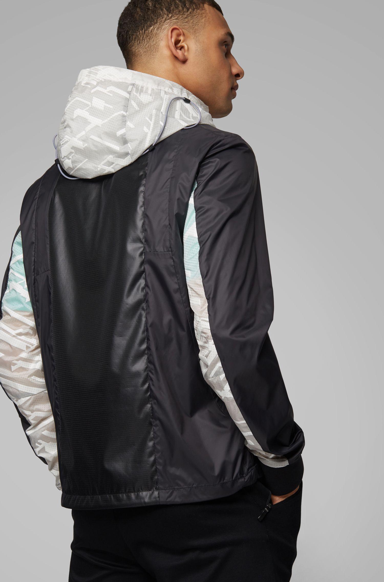 Water-repellent half-zip jacket with seasonal motif, Black