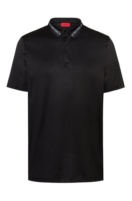 Slim-fit polo shirt in mercerized cotton with logo-tape collar, Black