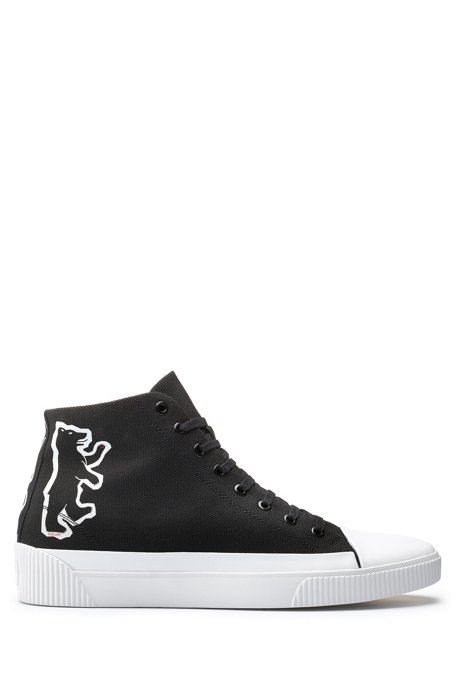 High-top canvas sneakers with bear motif, Black