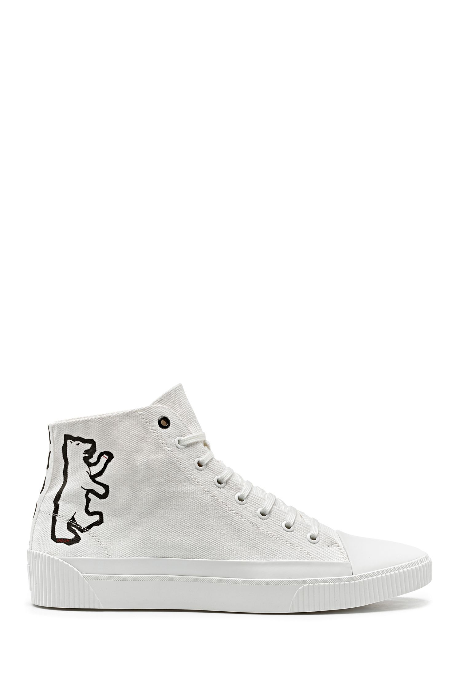 High-top canvas sneakers with bear motif, White
