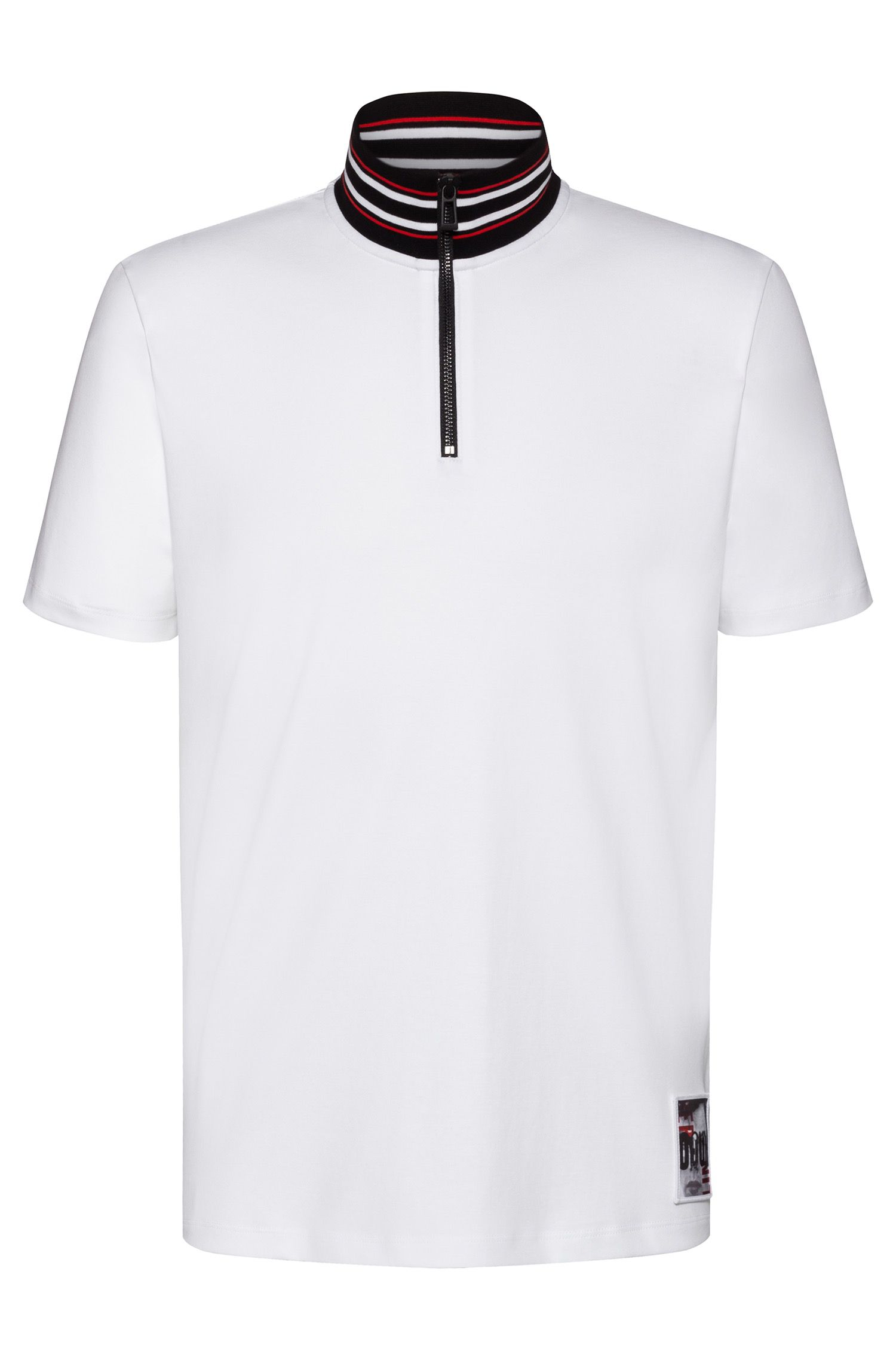 Stand collar polo shirt with graphic Berlin badge, White