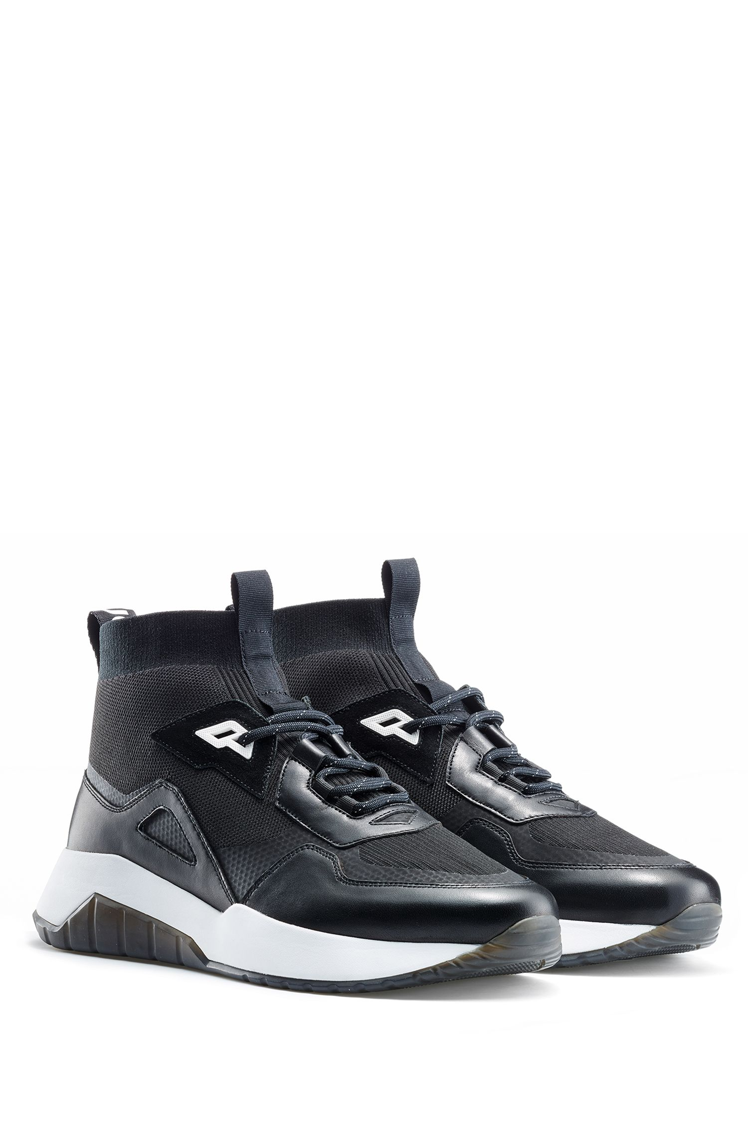 Chunky sneakers in mixed materials with knitted sock, Black