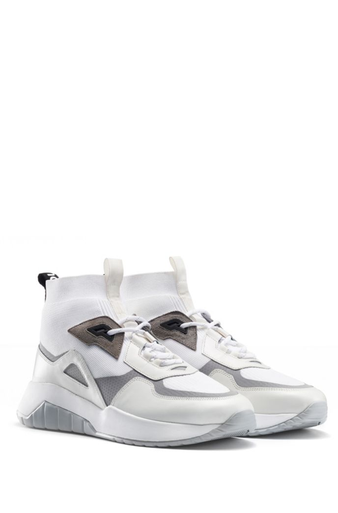 Chunky sneakers in mixed materials with knitted sock