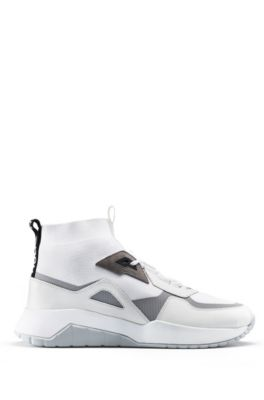 Chunky sneakers in mixed materials with knitted sock, White