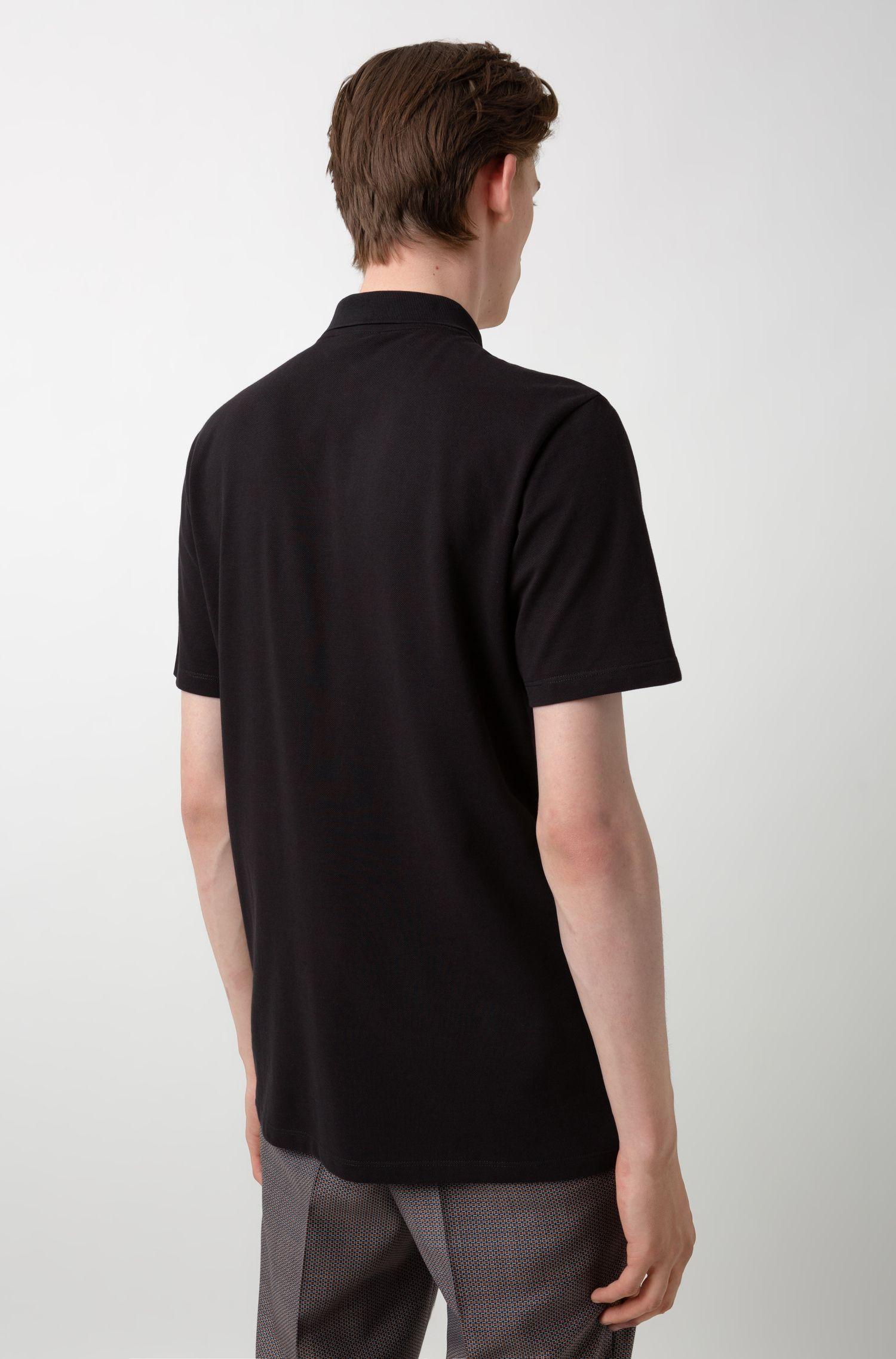 Cotton-piqué polo shirt with bear motifs, Black
