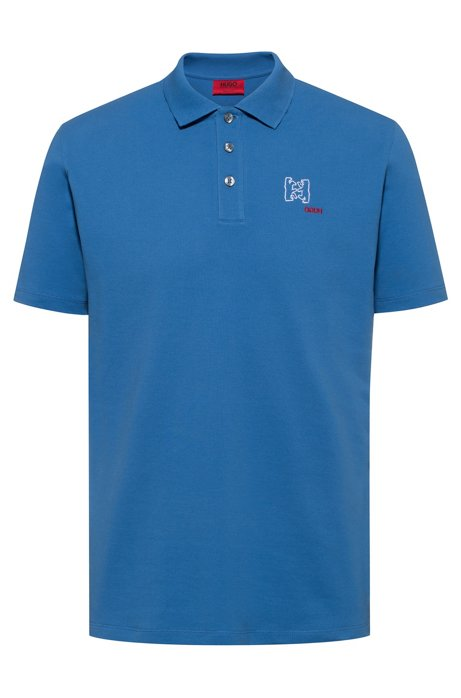 Cotton-piqué polo shirt with bear motifs, Blue