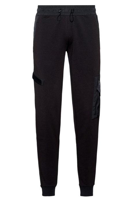 Relaxed-fit jogging pants in French terry with technical trims, Black