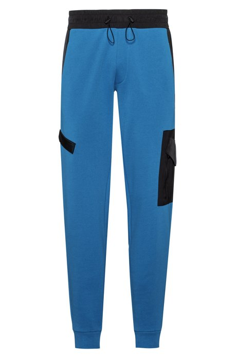 Relaxed-fit jogging pants in French terry with technical trims, Blue