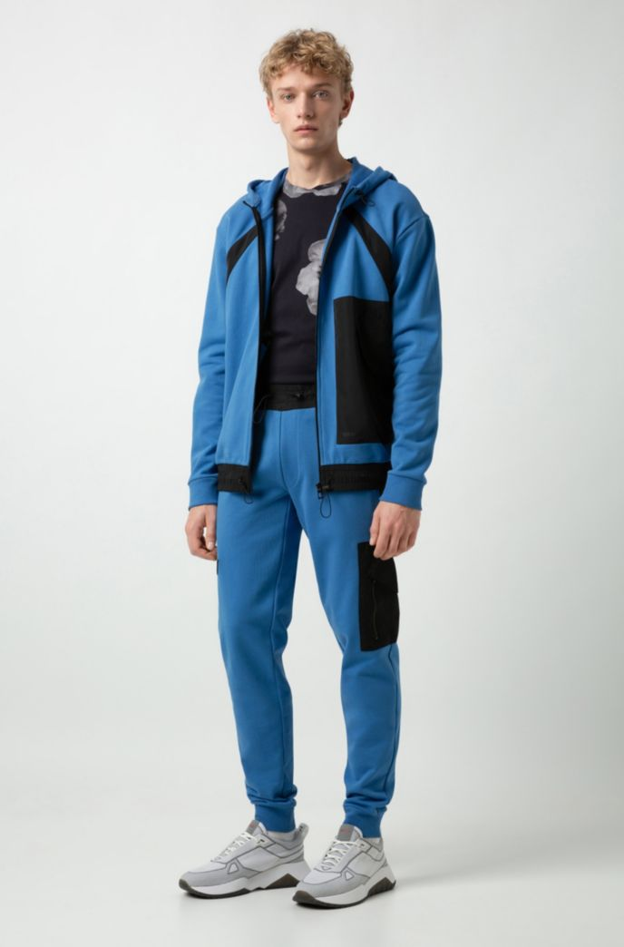 Relaxed-fit jogging pants in French terry with technical trims