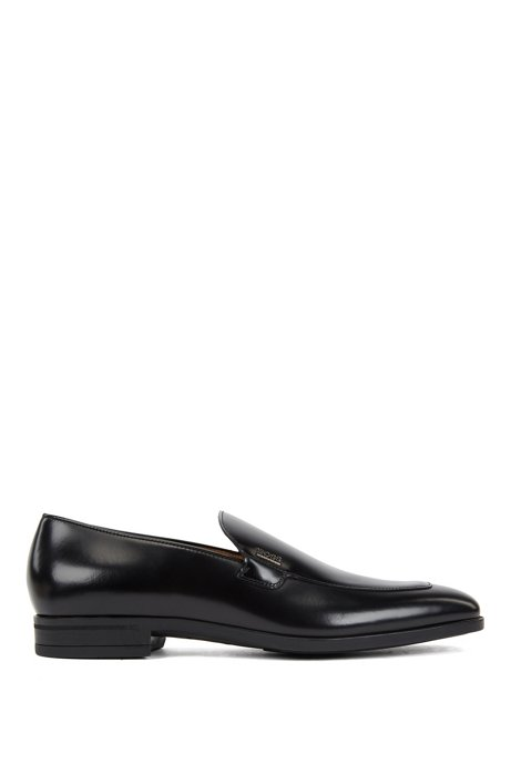 Italian-made loafers in patent leather with logo lettering, Black