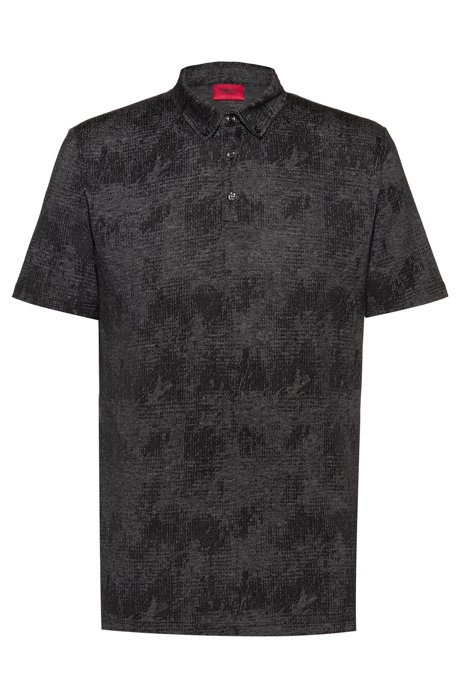 Button-down polo shirt in mercerized cotton jacquard, Black