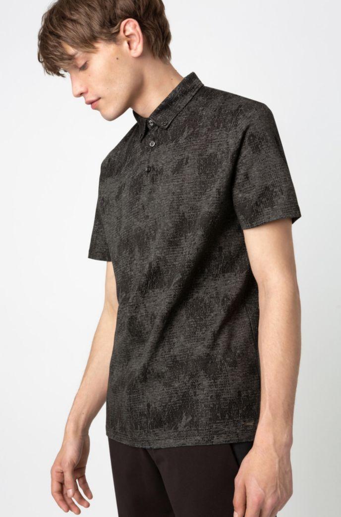 Button-down polo shirt in mercerized cotton jacquard