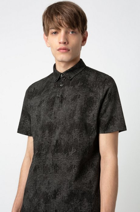 Button-down polo shirt in mercerized cotton jacquard, Black