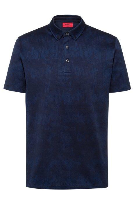 Button-down polo shirt in mercerized cotton jacquard, Dark Blue
