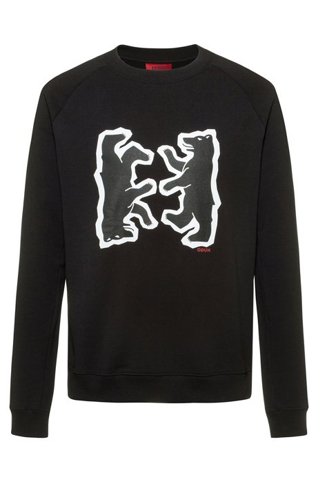 Relaxed-fit sweatshirt in French terry with bear motif, Black