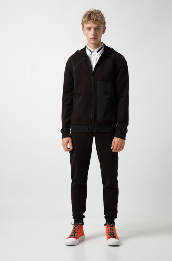 Zip-through hoodie in French terry with technical trims
