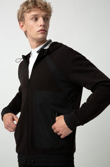 Zip-through hoodie in French terry with technical trims, Black