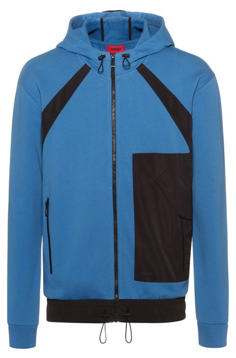 Zip-through hoodie in French terry with technical trims, Blue