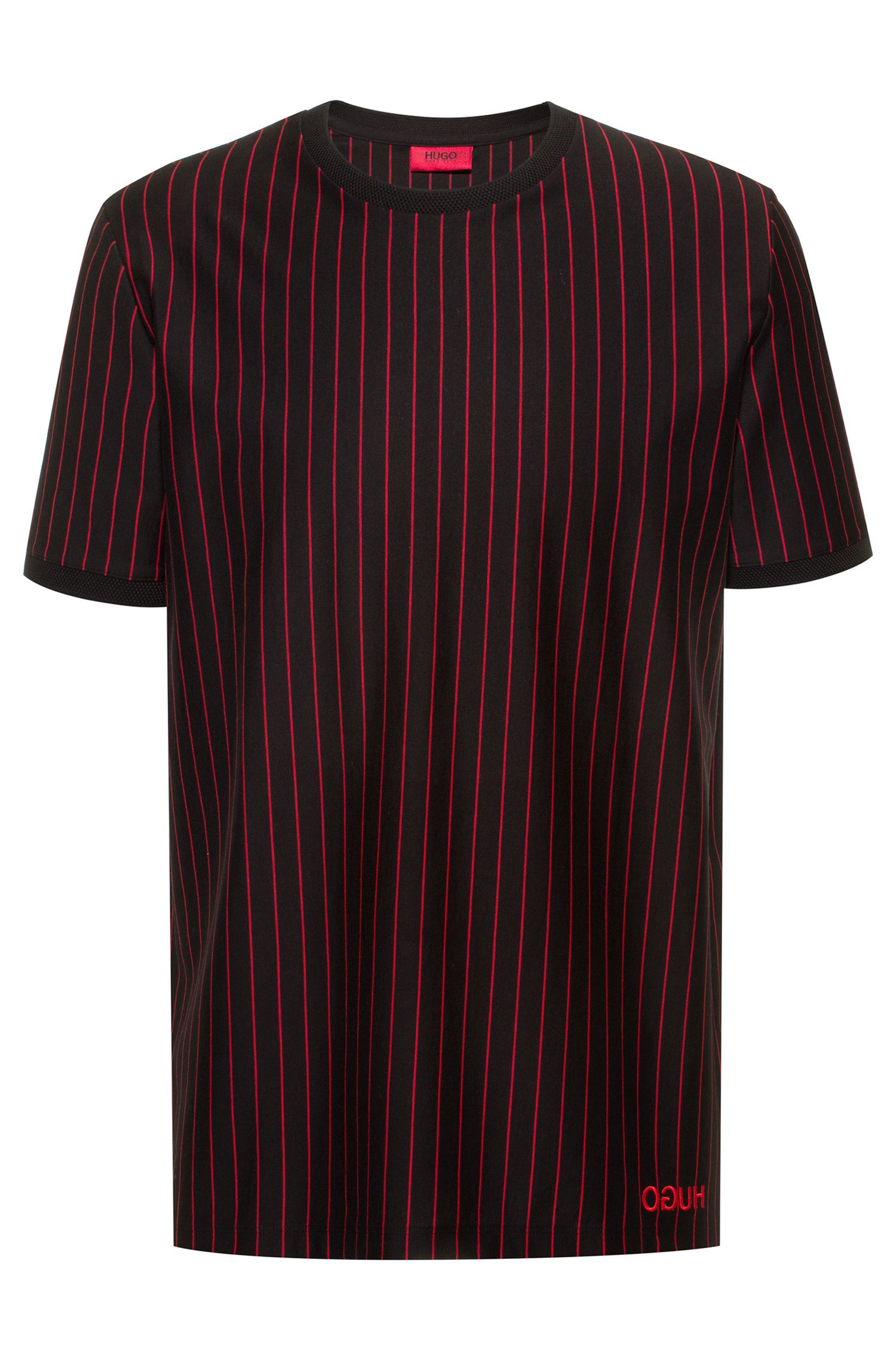 Relaxed-fit high-neck polo shirt in striped cotton, Black
