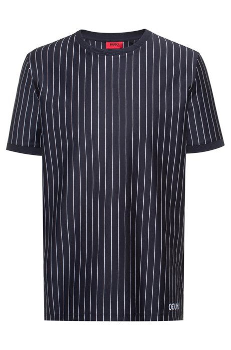 Relaxed-fit high-neck t-shirt in striped cotton, Dark Blue