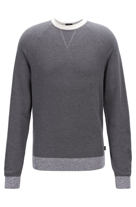Knitted sweater in Italian Pima cotton with contrast details, Grey