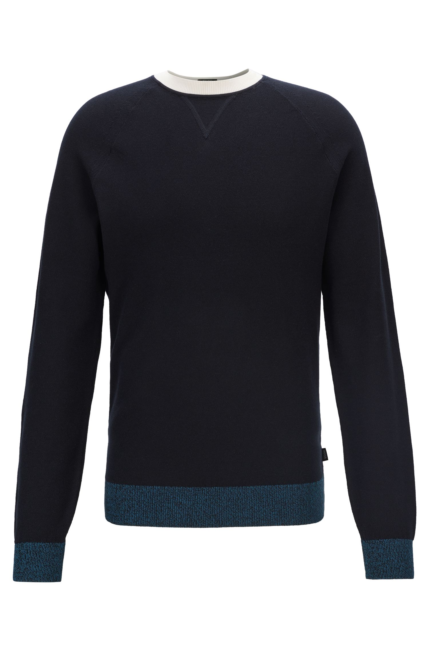 Knitted sweater in Italian Pima cotton with contrast details, Dark Blue