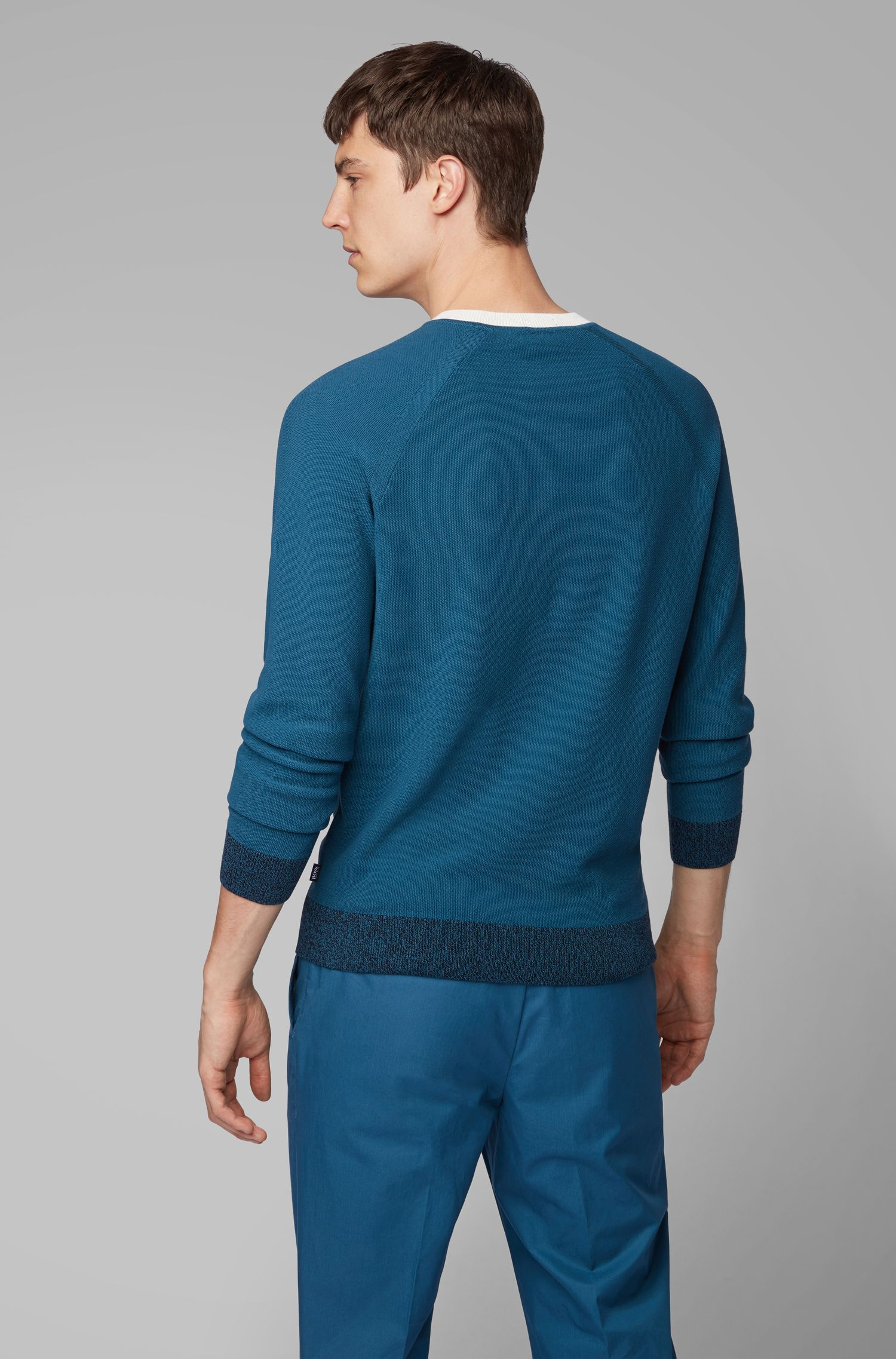 Knitted sweater in Italian Pima cotton with contrast details, Blue