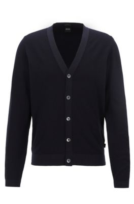 V-neck cardigan in micro-structured Italian cotton, Dark Blue