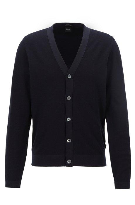 V-neck cardigan in micro-structured Italian cotton, Dark Blue